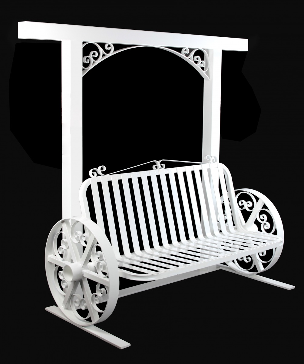 Wagon-wheel-scroll-bench-and-arch